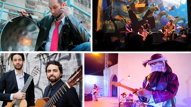 Fall 2017 Friday Music Series artists, Victor Provost, Brent Green, Mdou Moctar, and Duo Noire
