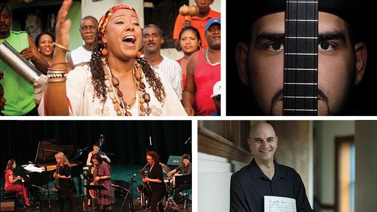 Friday Music Series artists Betsayda Machado, Jorge Glem, Kareem Roustom, and Ephemera.