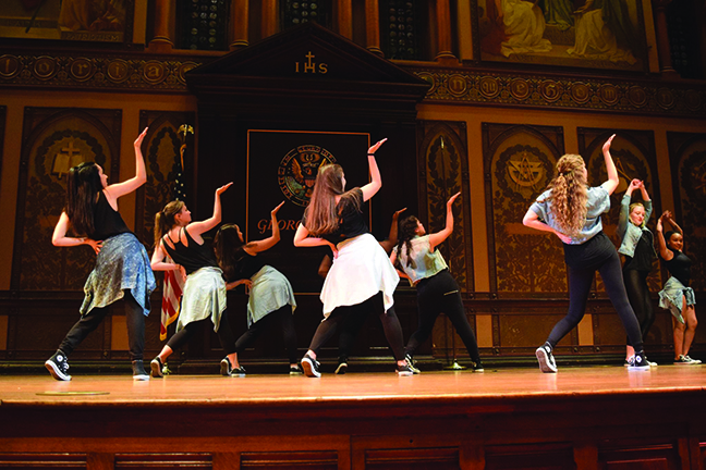 Groove Theory hip hop dance troupe performs in Gaston Hall