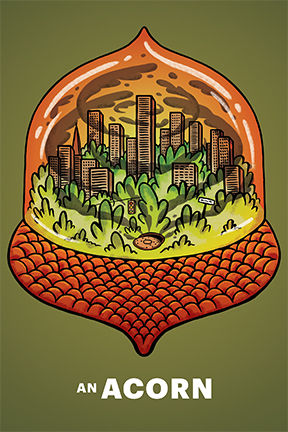 A cityscape inside an acorn-shaped snowglobe, swirling with smog