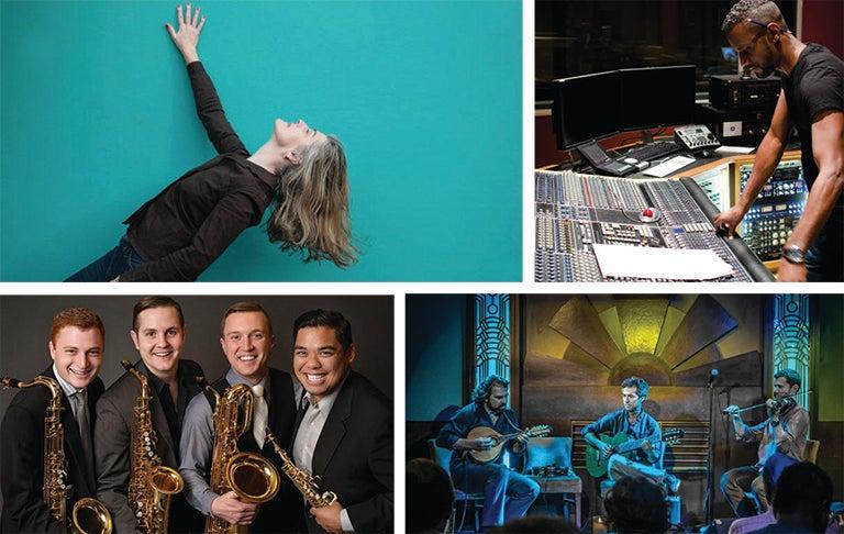 Friday Music Series Artists Rebecca Gates, Carlos Simon, Brazilian Strings Trio, and Barkada Quartet