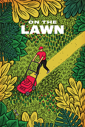 A man in red mows a spartan path across a luscious green landscape
