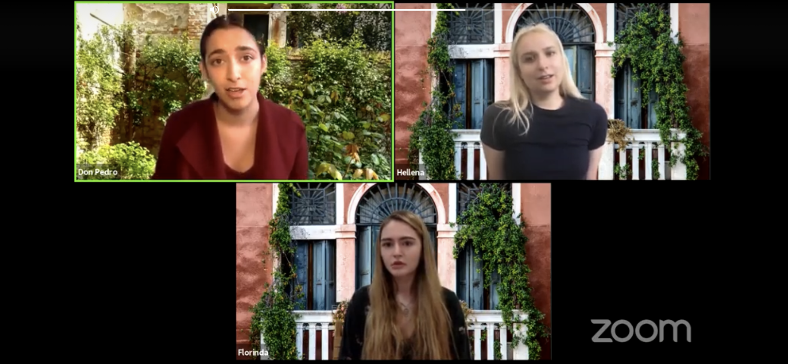 "Three separate Zoom screens shared on one screen, each with an outdoor backdrop with ivy, character in top row, left to right Don Pedro and Hellena, and bottom row Florinda in the online reading of ""The Rover'"