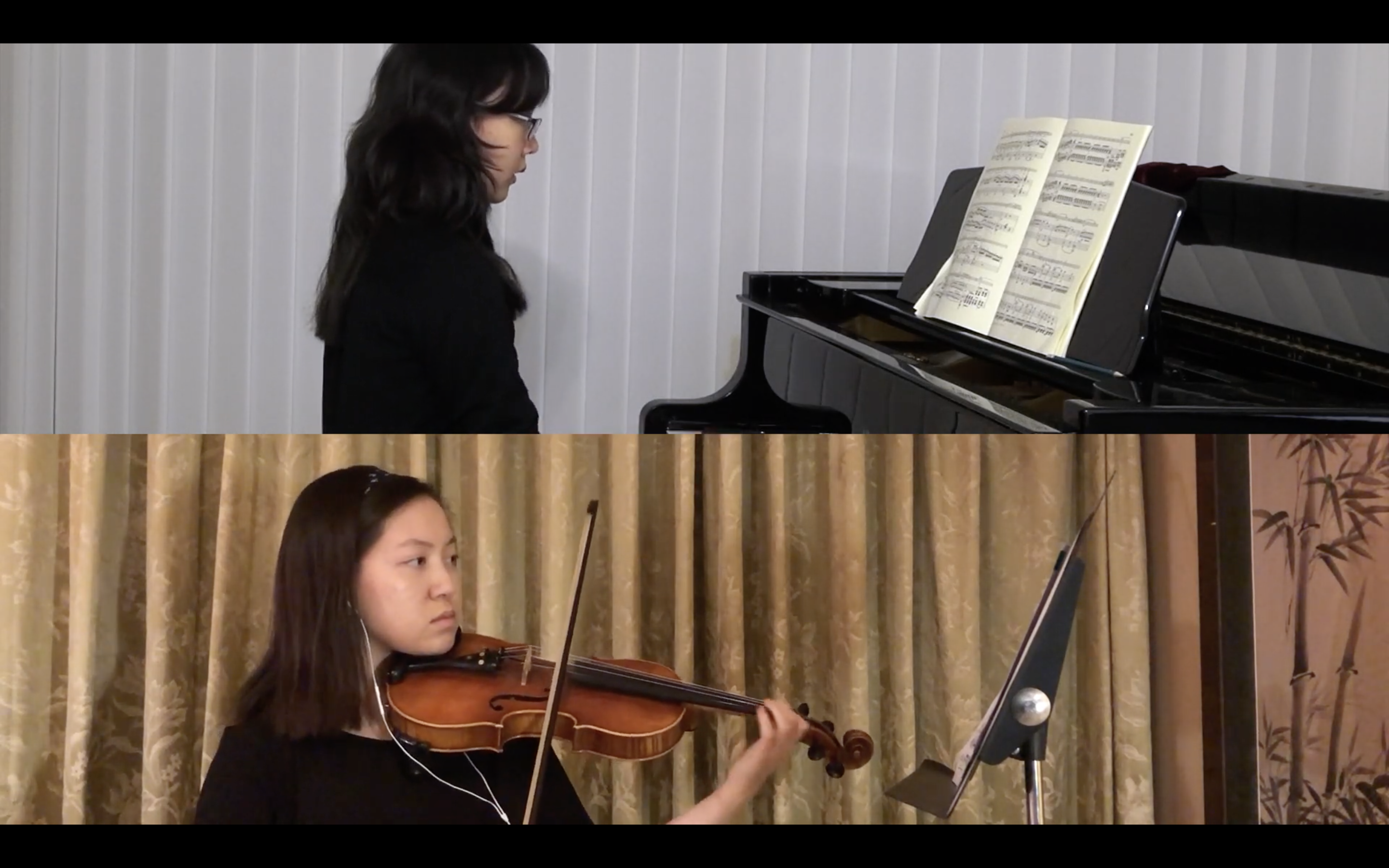 Zoom screens show Georgetown University Chamber Music Ensembles Program student pianist performing from Hong Kong at top, and violinist in the U.S. performing below.