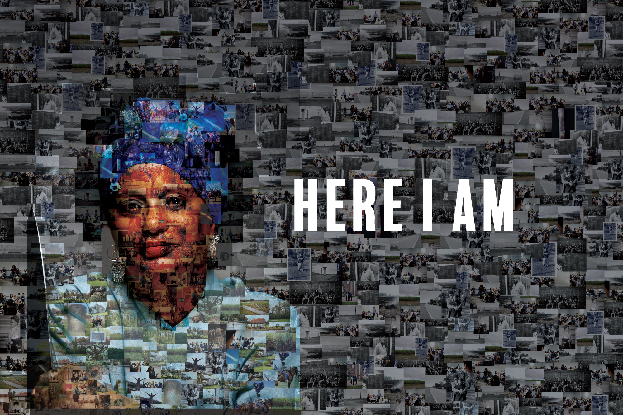 A mosaic photo of Melisande Short Colombe, comprised of hundreds of smaller personal and historical photos from her life