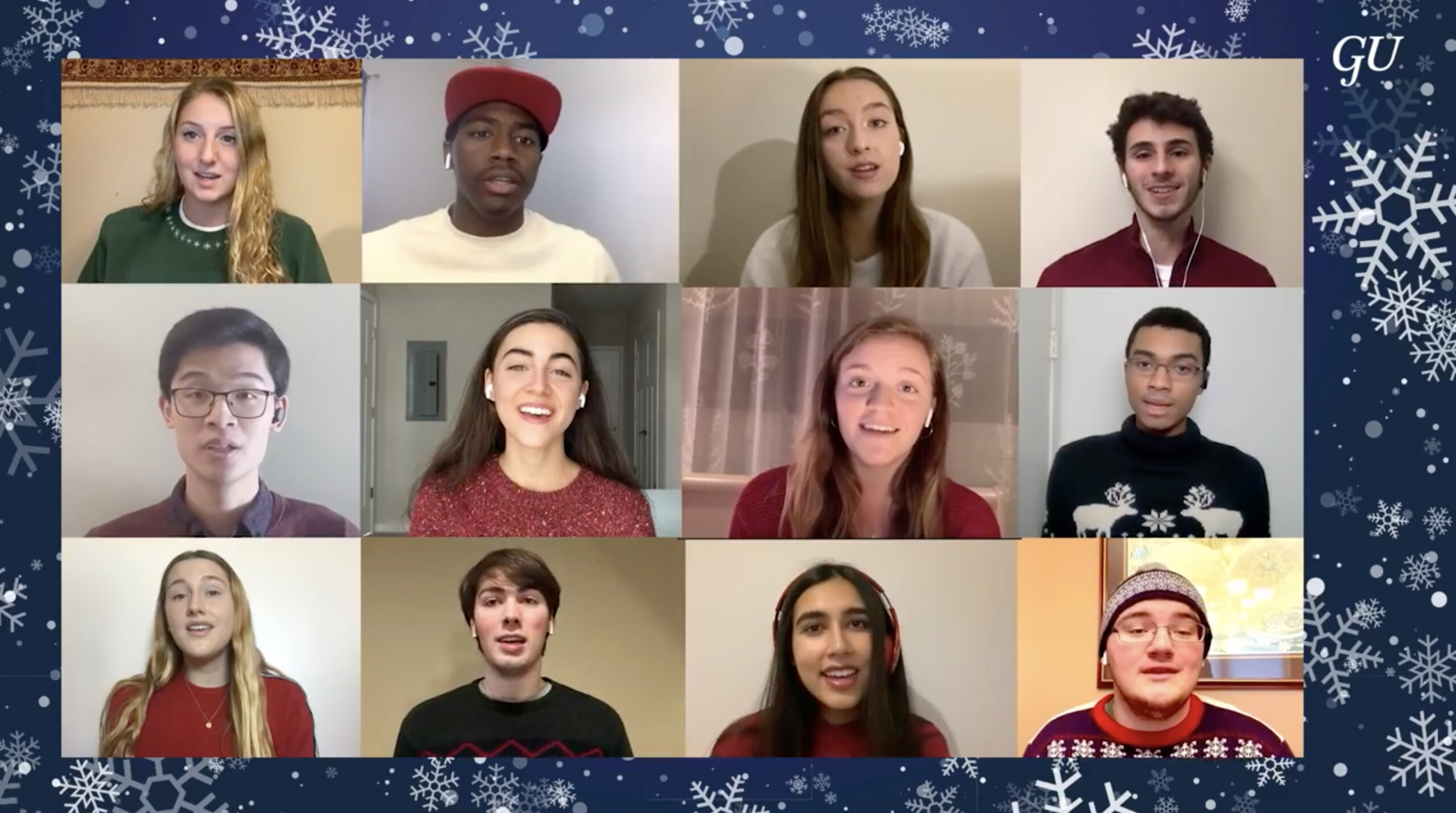 Georgetown University a cappella group performs as part of the 2020 virtual tree lighting.