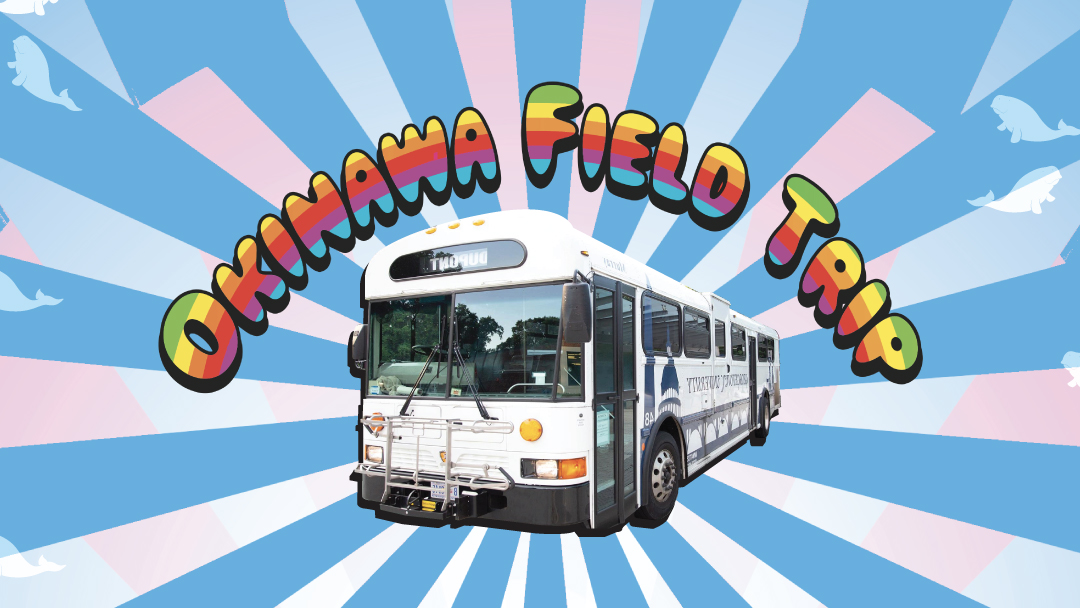 """Rainbow title """"Okinawa Field Trip"""" arches over a white shuttle bus, against a starburst background of sky blue, white, and pink stripes"""